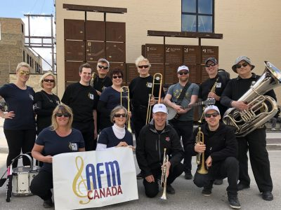 Parade band for commemoration of unions in Winnipeg MB